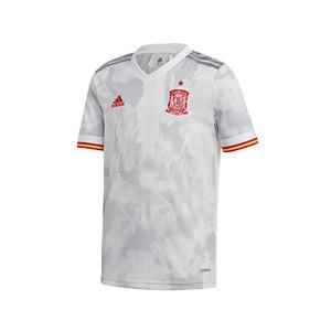 Camiseta adidas 2a España niño 2021 - Camiseta infantil segunda equipación adidas de la selección española 2021 - blanca grisácea - frontal