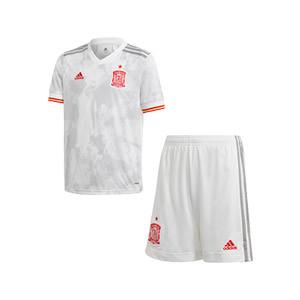 Equipación adidas 2a España niño 2021 - Conjunto infantil 7-14 años segunda equipación adidas de la selección española 2021 - blanco grisáceo - frontal