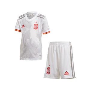 Equipación adidas 2a España niño pequeño 2021 - Conjunto infantil 2-6 años segunda equipación adidas de la selección española 2021 - blanco grisáceo - frontal