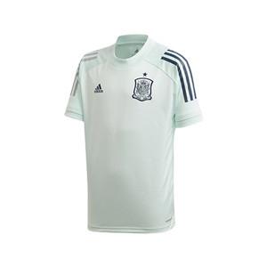 Camiseta adidas España niño entreno 2020 2021 - Camiseta infantil de manga corta de entrenamiento selección española 2020 2021 - verde menta - frontal
