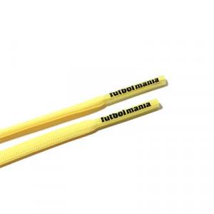 Cordones futbolmania extrafinos - Cordones extrafinos para botas de fútbol ligeras y botas de fútbol altas (4 mm ancho x 1,4 mm de grosor) - amarillos - herrete