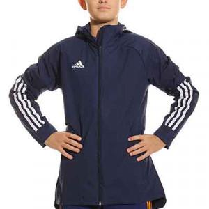 Chaqueta adidas Condivo 20 niño All Weather - Chaqueta con capucha de fútbol infantil adidas - azul marino - frontal
