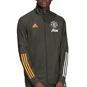 Chaqueta adidas United 2020 2021 Presentación - Chaqueta de presentación adidas Manchester United 2020 2021 - verde oscuro - frontal