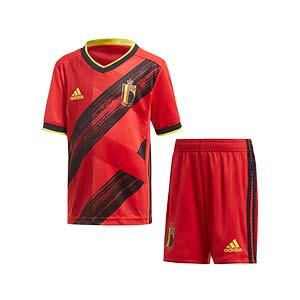 Equipación adidas Bélgica niño pequeño 2020 2021 - Conjunto infantil 1-6 años primera equipación selección belga 2020 2021 - rojo y negro - frontal