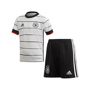 Equipación adidas Alemania 2020 2021 - Conjunto infantil 1-6 años primera equipación selección alemana 2020 2021 - blanca y negra - frontal
