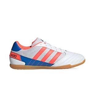 adidas Super Sala - Zapatillas de fútbol sala adidas suela lisa - blancas - pie derecho