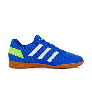 adidas Top Sala J - Zapatillas de fútbol sala adidas suela lisa - azules - pie derecho