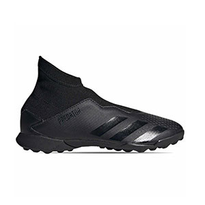 adidas Predator 20.3 LL TF J - Zapatillas de fútbol multitaco con tobillera sin cordones infantiles adidas suela turf - negras - pie derecho