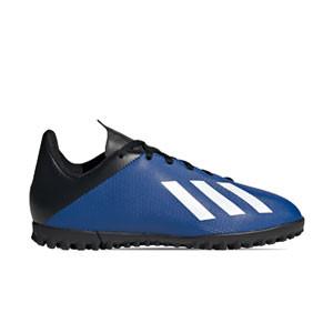 adidas X 19.4 TF J - Botas de fútbol multitaco infantiles adidas suela turf - azules - derecho