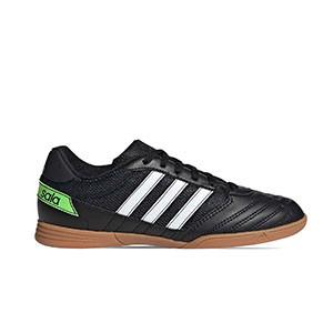 adidas Super Sala - Zapatillas de fútbol sala adidas suela lisa - negras - pie derecho