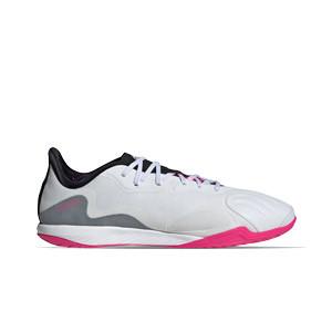 adidas Copa SENSE.1 IN Sala - Zapatillas de fútbol sala de piel adidas suela lisa IN - blancas - pie derecho