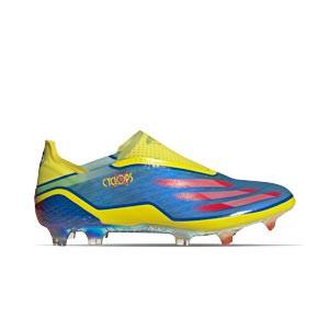 adidas X GHOSTED+ FG - Botas de fútbol sin cordones adidas FG para césped natural o artificial de última generación - amarillas y azules - pie derecho