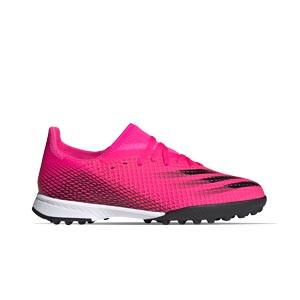 adidas X GHOSTED.3 TF J - Zapatillas de fútbol multitaco infantiles adidas suela turf - rosas - pie derecho