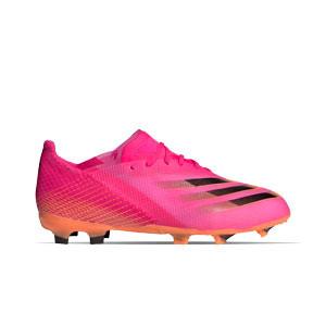 adidas X GHOSTED.1 FG J - Botas de fútbol infantiles adidas FG para césped natural o artificial de última generación - rosas - pie derecho
