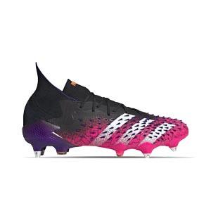 adidas Predator FREAK .1 SG - Botas de fútbol con tobillera adidas SG para césped natural blando - rosas y negras - derecho