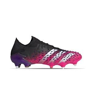 adidas Predator FREAK .1 Low SG - Botas de fútbol adidas SG para césped natural blando - rosas y negras - pie derecho