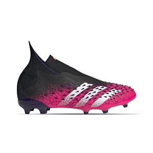 adidas Predator FREAK + FG J - Botas de fútbol infantiles con tobillera sin cordones adidas FG para césped natural o artificial de última generación - rosas y negras - pie derecho