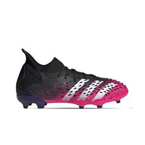 adidas Predator FREAK .1 FG J - Botas de fútbol infantiles con tobillera adidas FG para césped natural o artificial de última generación - rosas y negras - pie derecho