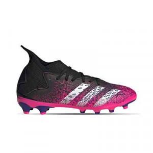 adidas Predator FREAK .3 MG J - Botas de fútbol con tobillera infantiles adidas MG para césped artificial - rosas y negras - pie derecho