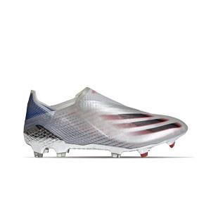 adidas X GHOSTED+ FG - Botas de fútbol sin cordones adidas FG para césped natural o artificial de última generación - plateadas - pie derecho