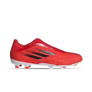 adidas X SPEEDFLOW.3 LL FG - Botas de fútbol sin cordones adidas FG para césped natural o artificial de última generación - rojas