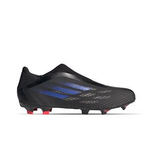 adidas X SPEEDFLOW.3 LL FG - Botas de fútbol sin cordones adidas FG para césped natural o artificial de última generación - negras