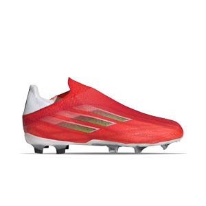adidas X SPEEDFLOW+ FG J - Botas de fútbol infantiles sin cordones adidas FG para césped natural o artificial de última generación - rojas