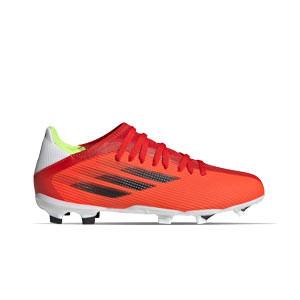 adidas X SPEEDFLOW.3 FG J - Botas de fútbol infantiles adidas FG para césped natural o artificial de última generación - rojas