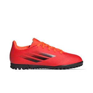 adidas X SPEEDFLOW.4 TF J - Zapatillas de fútbol multitaco infantiles adidas suela turf - rojas