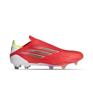 adidas X SPEEDFLOW+ FG - Botas de fútbol sin cordones adidas FG para césped natural o artificial de última generación - rojas