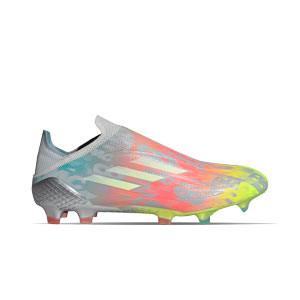 adidas X SPEEDFLOW+ FG - Botas de fútbol sin cordones adidas FG para césped natural o artificial de última generación - grises, rosas