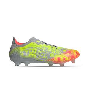 adidas Copa SENSE.1 FG - Botas de fútbol de piel de canguro adidas FG para césped natural o artificial de última generación - amarillas flúor, grises
