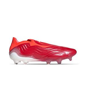 adidas Copa SENSE+ FG - Botas de fútbol de piel de canguro sin cordones adidas FG para césped natural o artificial de última generación - rojas