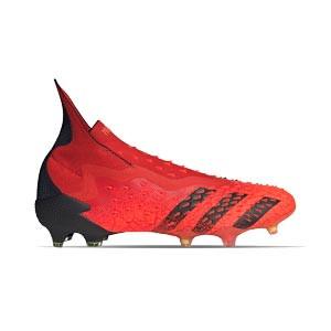 adidas Predator FREAK + FG - Botas de fútbol con tobillera sin cordones adidas FG para césped natural o artificial de última generación - rojas