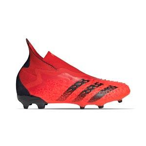 adidas Predator FREAK + FG J - Botas de fútbol infantiles con tobillera sin cordones adidas FG para césped natural o artificial de última generación - rojas