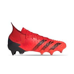 adidas Predator FREAK .1 SG - Botas de fútbol con tobillera adidas FG para césped natural húmedo - rojas