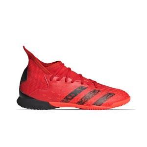 adidas Predator FREAK .3 IN J - Zapatillas de fútbol sala infantiles con tobillera adidas suela lisa IN - rojas