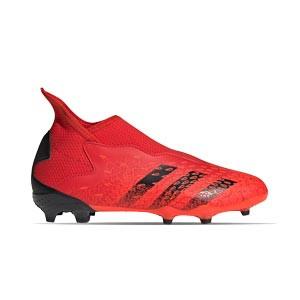adidas Predator FREAK .3 LL FG J - Botas de fútbol infantiles con tobillera sin cordones adidas FG para césped natural o artificial de última generación - rojas