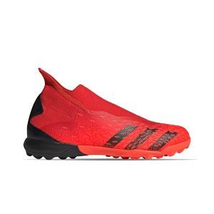 adidas Predator FREAK .3 LL TF - Zapatillas de fútbol multitaco con tobillera sin cordones adidas TF suela turf - rojas