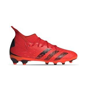 adidas Predator FREAK .3 MG J - Botas de fútbol infantiles con tobillera adidas MG para césped artificial - rojas