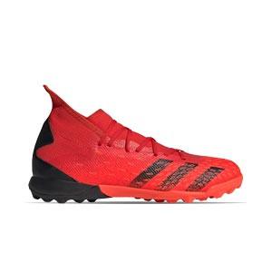 adidas Predator FREAK .3 TF - Zapatillas de fútbol multitaco con tobillera adidas TF suela turf - rojas