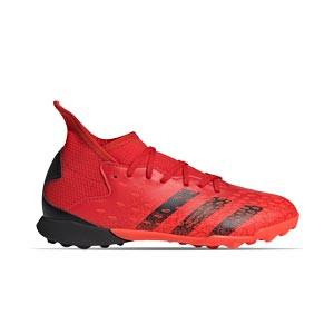 adidas Predator FREAK .3 TF J - Zapatillas de fútbol multitaco infantiles con tobillera adidas TF suela turf - rojas