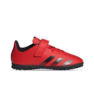 adidas Predator FREAK .4 H&L TF J - Zapatillas de fútbol multitaco infantiles con velcro adidas suela turf - rojas