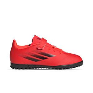 adidas X SPEEDFLOW.4 H&L TF J - Zapatillas de fútbol multitaco infantiles con velcro adidas suela turf - rojas