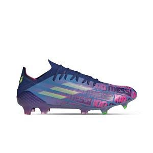 adidas X SPEEDFLOW Messi.1 FG - Botas de fútbol adidas FG para césped natural o artificial de última generación - azul marino, rosas