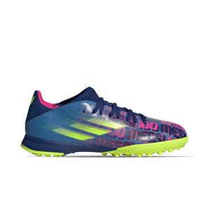 adidas X SPEEDFLOW Messi.3 TF J - Zapatillas de fútbol multitaco infantiles adidas suela turf - azul marino, rosas