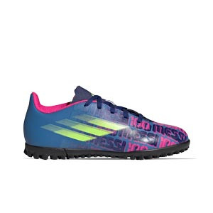 adidas X SPEEDFLOW Messi.4 TF J - Zapatillas de fútbol multitaco infantiles adidas suela turf - azul marino, rosas