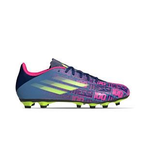 adidas X SPEEDFLOW Messi.4 FxG - Botas de fútbol adidas FxG para múltiples terrenos - azul marino, rosas