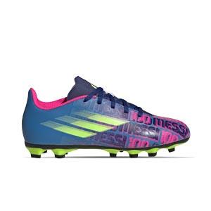 adidas X SPEEDFLOW Messi.4 FxG J - Botas de fútbol infantiles adidas FxG para múltiples terrenos - azul marino, rosas