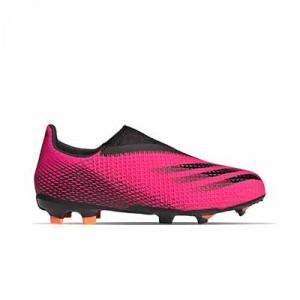 adidas X GHOSTED.3 LL FG J - Botas de fútbol sin cordones infantiles adidas FG para césped natural o artificial de última generación - rosas - pie derecho